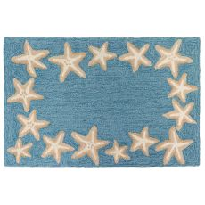 "Liora Manne Capri Starfish Border Indoor/Outdoor Rug Aqua 20""X30"""