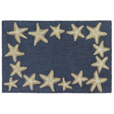 "Liora Manne Capri Starfish Border Indoor/Outdoor Rug Denim 20""X30"""