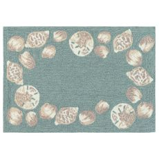 "Liora Manne Capri Seashell Border Indoor/Outdoor Rug Aqua 20""X30"""