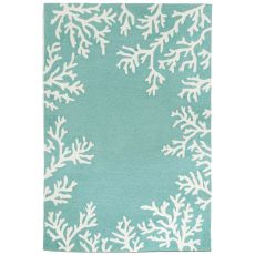 Liora Manne Capri Coral Bdr Indoor/Outdoor Rug - Blue, 5' By 7'6""