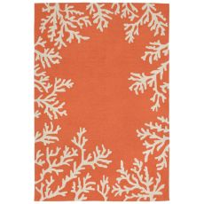"Liora Manne Capri Coral Bdr Indoor/Outdoor Rug - Orange, 7'6"" By 9'6"""