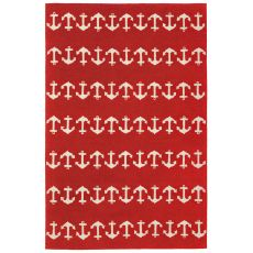 Liora Manne Capri Anchor Indoor/Outdoor Rug - Red, 5' by 7'6""