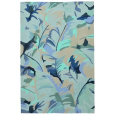 "Palm Leaf Blue Rug 24"" X 36"""