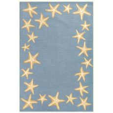 Liora Manne Capri Starfish Border Indoor/Outdoor Rug Bluewater 5'X7'6""