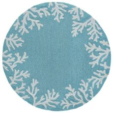 Coral Border Indoor/Outdoor Rug Blue