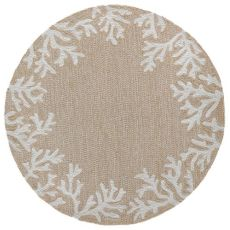 Coral Border Neutral Indoor/Outdoor Rug  5' RD