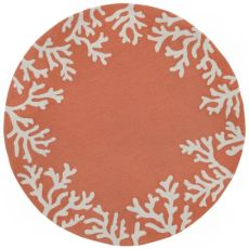 Coral Border Coral 5 Ft Round Indoor/Outdoor Rug