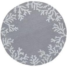 Coral Border Silver Indoor/Outdoor Rug