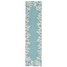 "Liora Manne Capri Coral Bdr Indoor/Outdoor Rug - Blue, 24"" by 8'"