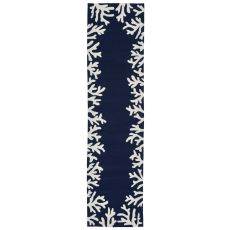 "Coral Bedroom Navy Rug 24"" X 8'"