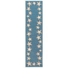 "Liora Manne Capri Starfish Border Indoor/Outdoor Rug Aqua 24""X60"""
