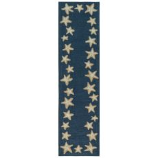"Liora Manne Capri Starfish Border Indoor/Outdoor Rug Denim 24""X60"""