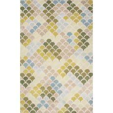 Contemporary Coastal Pattern Green/Blue Wool And Art Silk Area Rug (8X11)