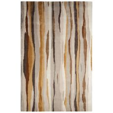 Contemporary Abstract Pattern Taupe/Brown Wool And Art Silk Area Rug (8X11)