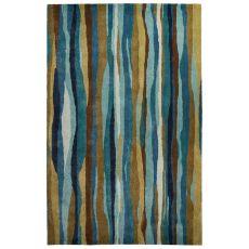 Contemporary Coastal Pattern Blue/Green Wool And Art Silk Area Rug (8X11)