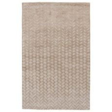 Contemporary Abstract Pattern Neutral/White Wool And Viscose Area Rug ( 8X11)