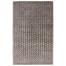 Contemporary Abstract Pattern Gray/White Wool and Viscose Area Rug ( 8x11)