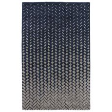Contemporary Abstract Pattern Blue/White Wool and Viscose Area Rug ( 8x11)