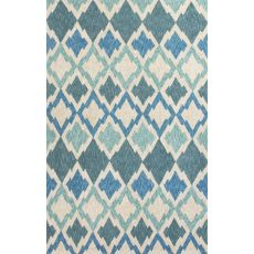 Indoor/Outdoor Coastal Pattern Blue/Ivory Polyester Area Rug (7.6X9.6)