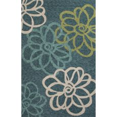 Indoor/Outdoor Floral & Leaves Pattern Blue/Ivory Polyester Area Rug (7.6X9.6)