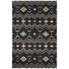 Indoor/Outdoor Tribal Pattern Black/White Polyester Area Rug (7.6X9.6)