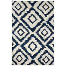Indoor/Outdoor Tribal Pattern Ivory/Blue Polyester Area Rug (7.6X9.6)