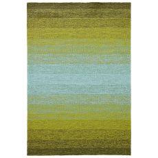 Indoor-Outdoor Abstract Pattern Green/Blue Polypropylene Area Rug ( 7.6X9.6)