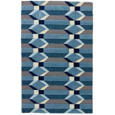 Indoor-Outdoor Geometric Pattern Gray/Blue Polypropylene Area Rug ( 7.6X9.6)