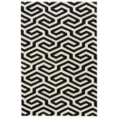 Indoor-Outdoor Geometric Pattern Black/White Polypropylene Area Rug ( 7.6X9.6)