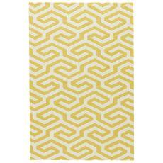 Indoor-Outdoor Geometric Pattern Yellow/White Polypropylene Area Rug ( 7.6X9.6)