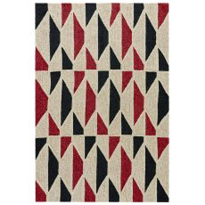 Indoor-Outdoor Geometric Pattern Neutral/Red Polyester Area Rug ( 7.6X9.6)