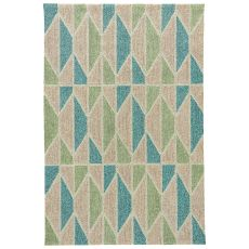 Indoor-Outdoor Geometric Pattern Neutral/Blue Polyester Area Rug ( 7.6X9.6)