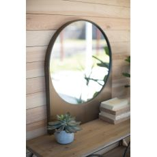 Round Antique Brass Finish Wall Mirror With Rectangle Base
