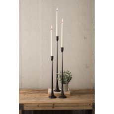 Tall Cast Iron Taper Candle Holders, Set of 3