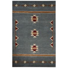 Contemporary Tribal Pattern Blue/Tan Wool Area Rug (8X10)