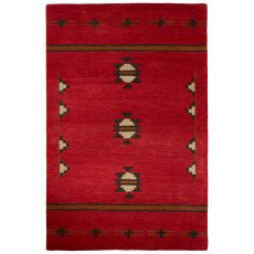 Contemporary Tribal Pattern Red/Gray Wool Area Rug (8X10)