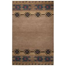 Contemporary Tribal Pattern Tan/Pink Wool Area Rug (8X10)