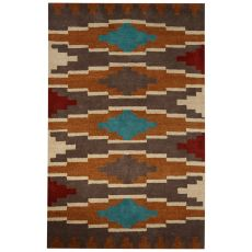 Contemporary Tribal Pattern Brown/Gray Wool Area Rug (8X10)