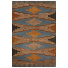 Contemporary Tribal Pattern Tan/Blue Wool Area Rug (8X10)
