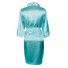 Personalized Solid Aqua Satin Robe (S-M)