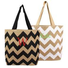 Black Chevron Natural Jute Tote Bags