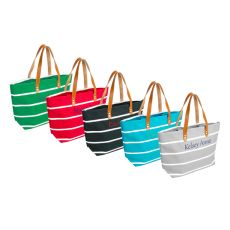 Personalized Green Striped Tote With Leather Handles