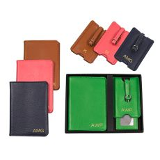 Personalized Brown Leather Passport Holder & Luggage Tag Set