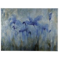 Blue Flowers Hand Painted Canvas Wall Art