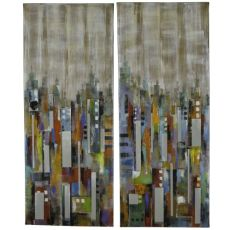 City Reflections Hand Painted Canvas Wall Art