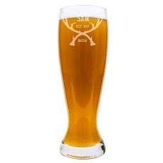 Personalized Groomsman Antlers 54 Oz. Xl Beer Pilsner Glass