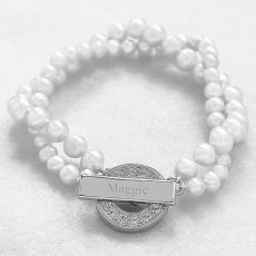 White Personalized Pearl Bracelet With Rhinestone Toggle