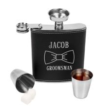 Personalized Groomsmen Leather Wrapped Flask Set, Black