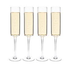 8 Oz. Cheers! Contemporary Champagne Flutes (Set Of 4)