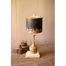 Table Lamp - Round Wooden Base W Black and Gold Metal Shade